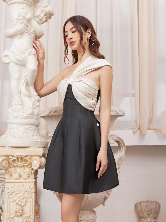 Váy quả ngực phối vai