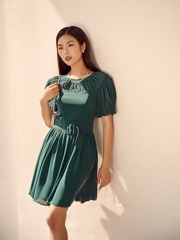 Váy ngắt eo nhún xòe chun vai thắt đai bản lớn