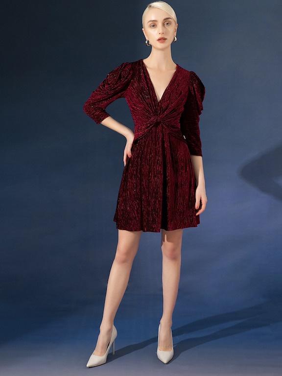 Váy nhung tăm xoắn eo