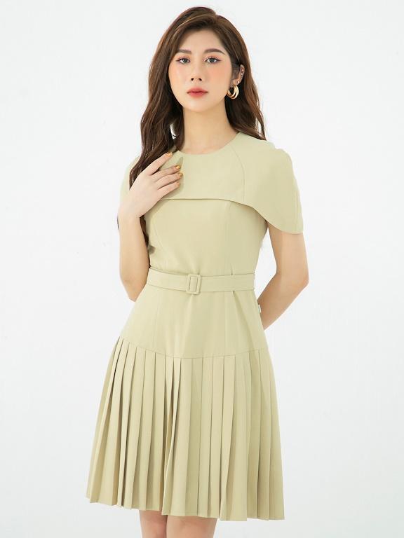 Váy tay cape xếp ly thắt đai eo