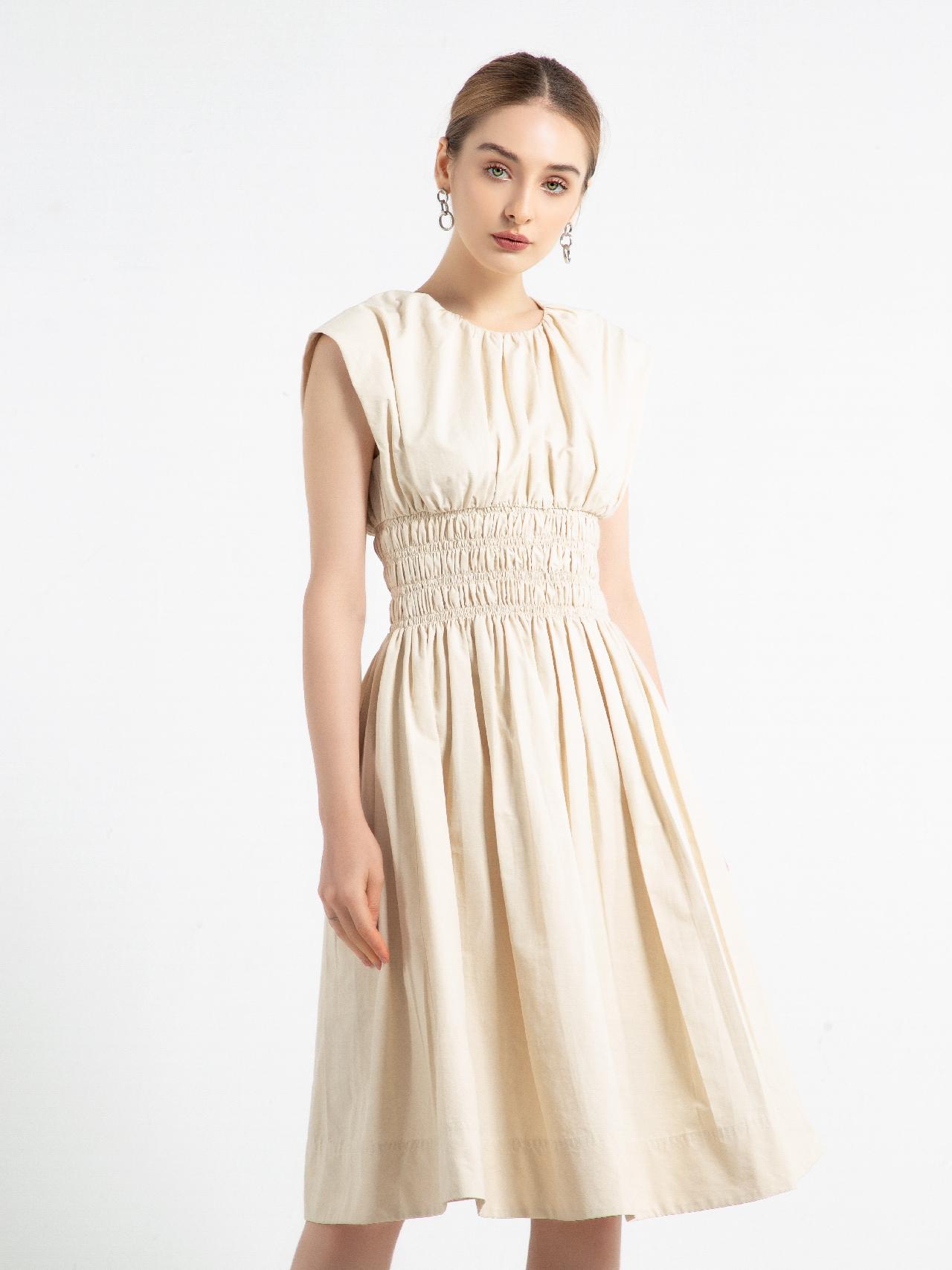 Đầm dài vai chờm chun eo