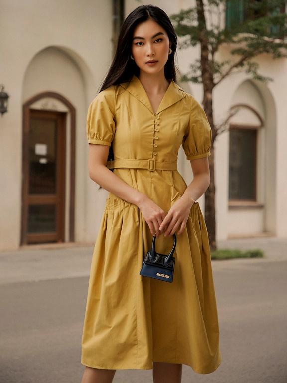 Đầm cổ bẻ 2 ve xếp ly 2 bên túi
