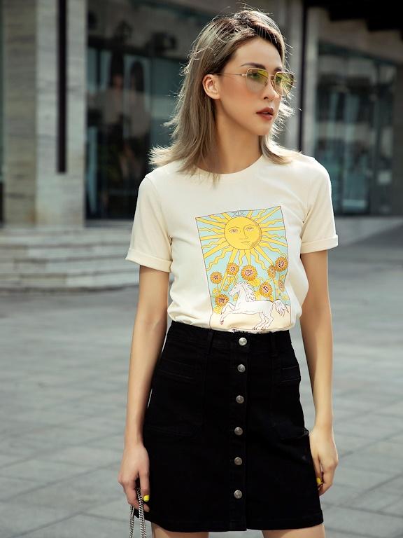 Áo phông in The Sun hình màu
