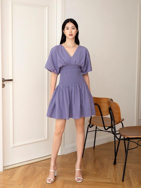 Váy xòe cổ V chạy chun eo