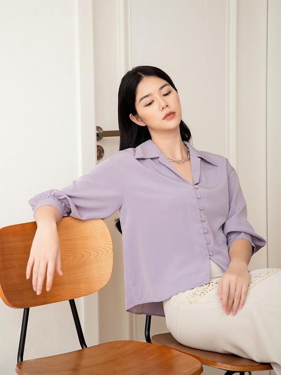 Áo SM tay dài đính cúc bọc