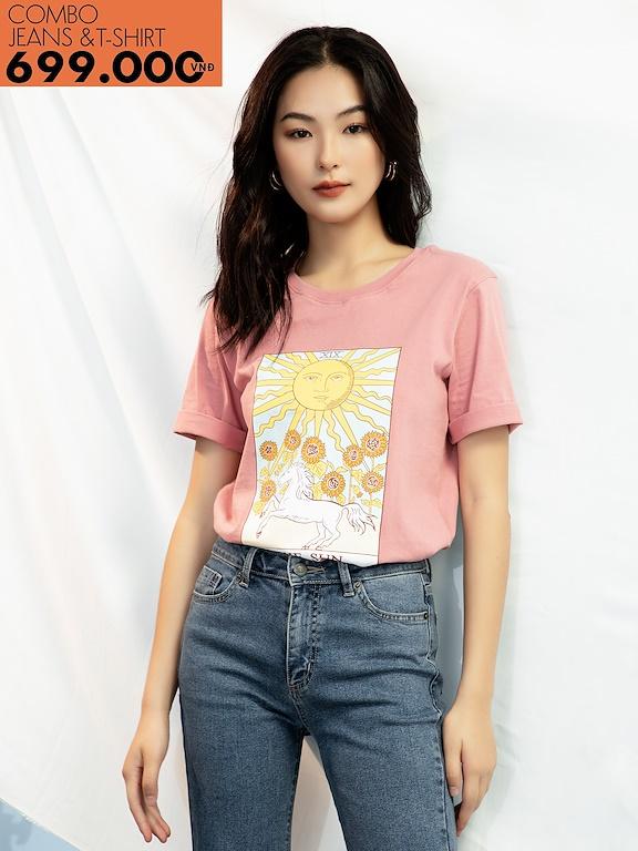 Áo phông in The Sun hình màu (Giảm 147k mua cùng quần Jeans)