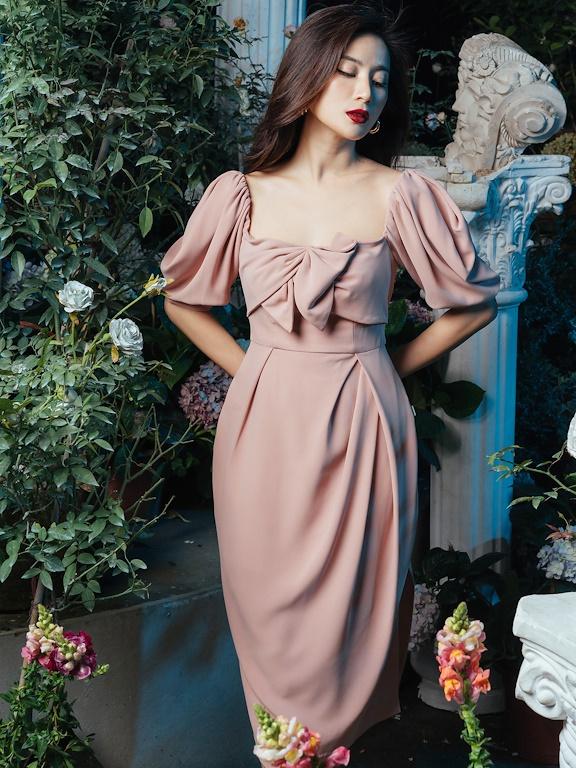 Váy cổ vuông chun vai